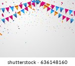 confetti and flag ribbons ... | Shutterstock .eps vector #636148160