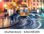 famous vintage yellow 28 tram... | Shutterstock . vector #636148184