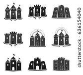 ancient forts emblems set.... | Shutterstock .eps vector #636154040