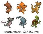 vector set of cute running... | Shutterstock .eps vector #636159698