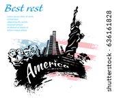 america travel grunge style... | Shutterstock .eps vector #636161828