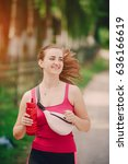 young athletic girl perfoms...   Shutterstock . vector #636166619