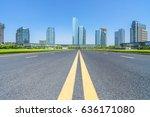city road through modern...   Shutterstock . vector #636171080