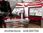 sports news. a television... | Shutterstock . vector #636184706