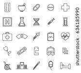 pharmacy line icons on white... | Shutterstock .eps vector #636185990