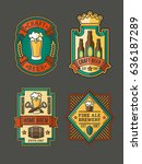 collection of color retro beer ... | Shutterstock . vector #636187289