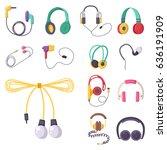 headphones vector set music... | Shutterstock .eps vector #636191909