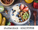 homemade granola with nuts and... | Shutterstock . vector #636195908