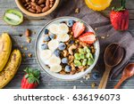 homemade granola with nuts and... | Shutterstock . vector #636196073