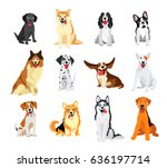 set of 12 dogs of different... | Shutterstock .eps vector #636197714
