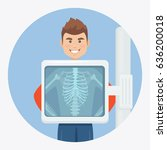 adult man with skeleton... | Shutterstock .eps vector #636200018