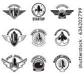 Set Of Space Labels. Rocket...