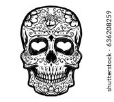 hand drawn sugar skull isolated ... | Shutterstock .eps vector #636208259