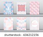 set of baby shower card on... | Shutterstock .eps vector #636212156