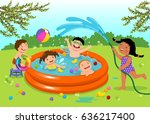 joyful kids playing in... | Shutterstock .eps vector #636217400
