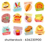 fast food vector icons for... | Shutterstock .eps vector #636230900