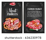 meat products of farmers market.... | Shutterstock .eps vector #636230978