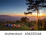 tents   camp site at sunset.  | Shutterstock . vector #636232166