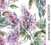 lilac seamless pattern....   Shutterstock . vector #636235424