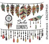 hand drawn boho collection with ... | Shutterstock .eps vector #636239414