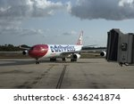 Small photo of A Swiss A 340 Airbus passenger jet approaching a stand and jetway at Tampa International Airport Florida. May 2017.