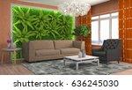 interior living room. 3d... | Shutterstock . vector #636245030