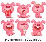 pink bunny emoji character set... | Shutterstock .eps vector #636245690