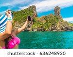 traveler woman in bikini and... | Shutterstock . vector #636248930