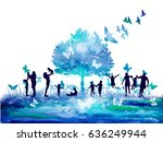 watercolor nature tree and... | Shutterstock .eps vector #636249944