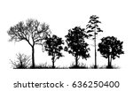 trees in the forest. landscape. ... | Shutterstock .eps vector #636250400