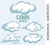 cartoon fluffy clouds in the... | Shutterstock .eps vector #636251414