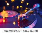 turntable vinyl record player.... | Shutterstock . vector #636256328