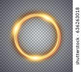 magic gold circle light effect. ... | Shutterstock . vector #636263018