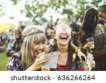 group of friends drinking beers ... | Shutterstock . vector #636266264