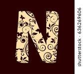floral font typeface alphabet n | Shutterstock .eps vector #636269606