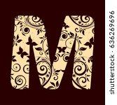 floral font typeface alphabet m | Shutterstock .eps vector #636269696