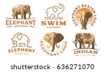 set elephant logo   vector... | Shutterstock .eps vector #636271070