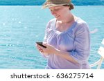 female tourist with straw hat... | Shutterstock . vector #636275714
