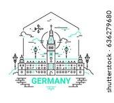 germany   modern vector line... | Shutterstock .eps vector #636279680