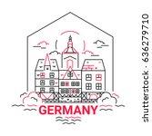 germany   modern vector line... | Shutterstock .eps vector #636279710