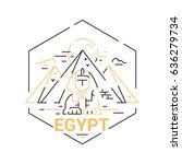egypt   modern vector line... | Shutterstock .eps vector #636279734