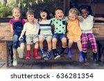 group of kindergarten kids... | Shutterstock . vector #636281354
