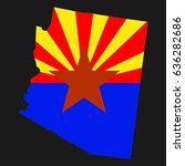 us state with flag for arizona | Shutterstock . vector #636282686