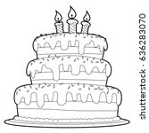 coloring book outlined three... | Shutterstock .eps vector #636283070