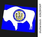 us state with flag for wyoming | Shutterstock . vector #636284369