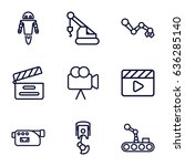 production icons set. set of 9... | Shutterstock .eps vector #636285140
