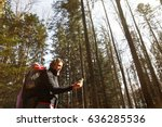 disoriented hiker checking her... | Shutterstock . vector #636285536