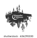 ramadan kareem mosque or ... | Shutterstock .eps vector #636290330