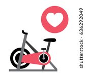 pink spinning bike and heart... | Shutterstock .eps vector #636292049