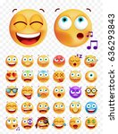 set of cute emoticons on white... | Shutterstock .eps vector #636293843